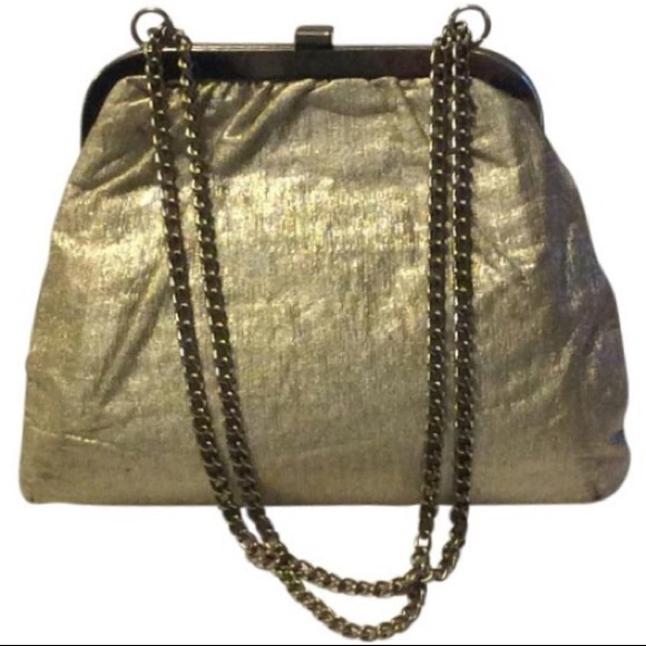 Vintage Handbags - Vintage Gold Lame Chain Satchel